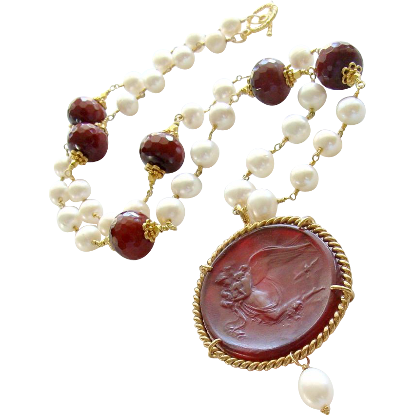 Red Venetian Glass Intaglio Cameo Angel Cultured Pearls Necklace - Vittoria Necklace