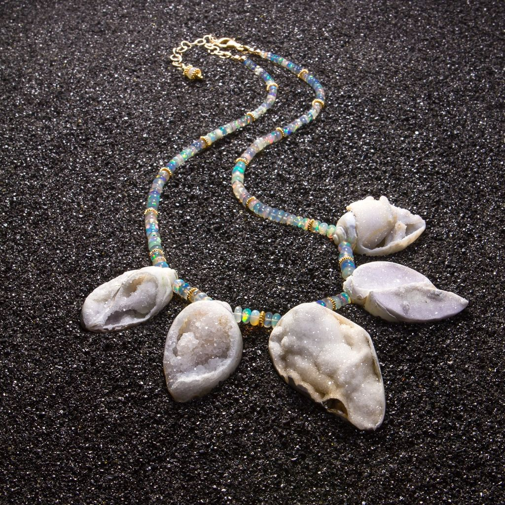 Fossilized Druzy Shells Ethiopian Opals Statement Necklace - Zara Necklace