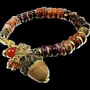 Bracelet ~ AUTUMN REDS ~ Emperor Jasper, Spiney Oyster, Designer Lampwork, Bronzw