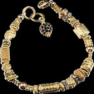 Bracelet ~ GILDED CELEBRATION II ~ Vermeil & Gold-Fill, Swarovski Crystals