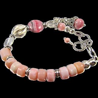 Bracelet ~ THE CUPCAKE BRACELET ~ Pink Peruvian Opal, Rhodochrosite, Crystal Quartz, Sterling Silver