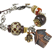 Bracelet ~ WHERE THE HEART IS ~ Artisan Lampwork, Sterling Silver, Copper, Leather