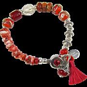 Tasselated Bracelet ~ HOT ORANGE ~ Sterling Silver, Spiny Oyster, Empress Jasper, Artisan Lampwork, Coral