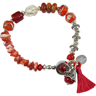 Tasselated Bracelet ~ HOT ORANGE ~ Sterling Silver, Spiny Oyster, Empress Jasper, Artisan Lampwork, Coral