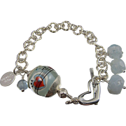 Bracelet ~ I HEART YOU ~ Aquamarine, Artisan Lampwork, Sterling Silver