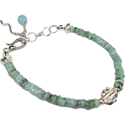 Bracelet ~ LEAVING OZ ~ Emeralds, Sterling Silver, Amazonite