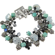 Charm Bracelet ~ SONG OF SIRENS ~ Amazonite, Aquamarine, Labradorite, Sterling Silver
