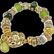 Bracelet ~ FAERIE GRAE ~ Designer Lampwork, Green Amethyst, Vermeil