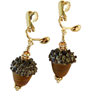 Drop Earrings ~ AUTUMN BROWNIES ~ Artisan Lampwork, Vermeil , Swarovski Crystals