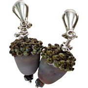 Drop Earrings ~ AUTUMN GREYS ~ Artisan Lampwork, Sterling Silver, Swarovski Crystal