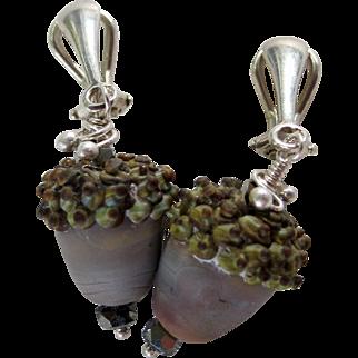Drop Earrings ~ AUTUMN GREYS ~ Artisan Lampwork, Sterling Silver, Swarovski Crystal