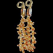 Drop Earrings ~ SUN SHOWERS ~ Artisan Lampwork, Hessonite Garnet, gold-fill, CZ