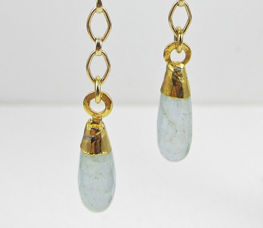 Drop Earrings ~ DAYDREAMS ~ Aquamarine, 22Kt Gold Leaf, Gold-Fill  & Vermeil