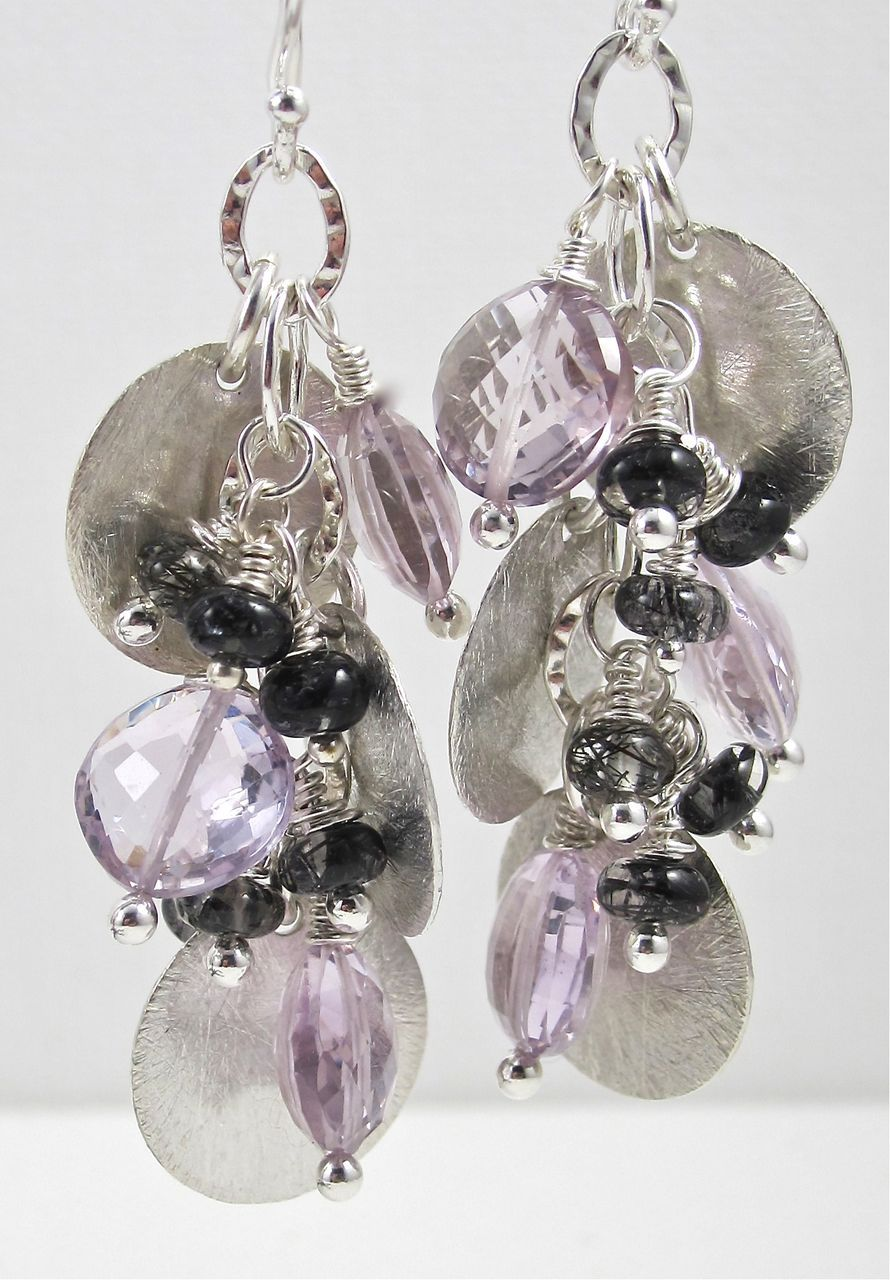 Earrings ~ BOJANGLES ~ Pink Amethyst and Tourmalinated Quartz