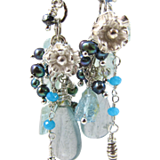 Drop Earrings ~ SILVER BELLS & COCKLE SHELLS ~ Aquamarine, Many Blue Gemstones, Fine & Sterling Silver