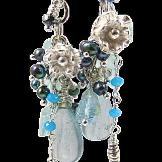 Drop Earrings ~ SILVER BELLS & COCKLE SHELLS ~ Aquamarine, Many Blue Gemstones, Fine & Sterling Silver
