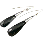 Drop Earrings ~ LITTLE BLACK DRESS ~ Spinel, Cubic Zirconia, Sterling
