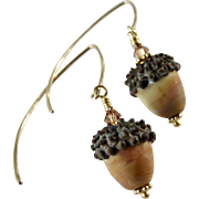 Drop Earrings ~ AUTUMN BLONDIES ~ Artisan Lampwork, gold-Fill, vermeil, Swarovski crystal