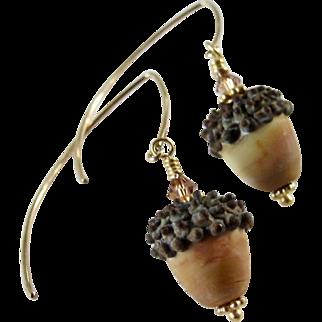 Drop Earrings ~ AUTUMN BLONDIES ~ Artisan Lampwork, gold-Fill, vermeil, Swarovski crystal