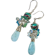 Drop Earrings ~ BLUEBIRD OF HAPPINESS ~ Larimar, Artisan Lampwork, Blue Gemstones, Sterling Silver