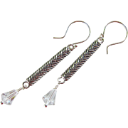 Drop Earrings ~ . CANDLESTICK ROAD ~ . Sterling Silver, Vintage Swarovski Crystal