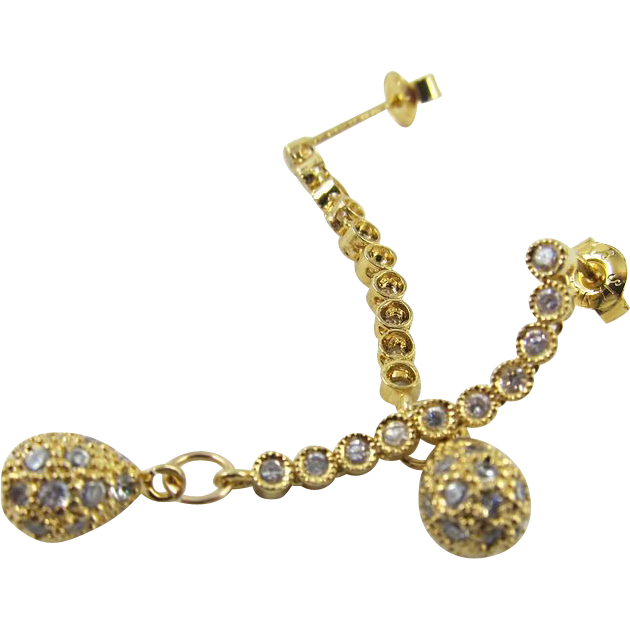 Drop Earrings ~ DIVA DROPS ~ Cubic Zirconia, Vermeil