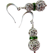 Drop Earrings ~ THE EMERALD BALLROOM ~ Swarovski Crystals, Sterling Silver