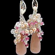 Drop Gem-Cluster Earrings ~ ENCHANTMENT ~ Peach Moonstone, Rubies, Herkimer Diamonds, CF Pearls, Sterling