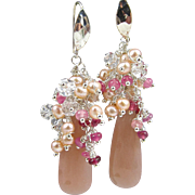 Drop Gem-Cluster Earrings ~ ENCHANTMENT ~ Peach Moonstone, Rubies, Herkimer Diamonds, CF Pearls, Sterling
