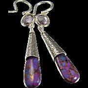 Drop Earrings ~ EARLY PURPLES ~ PurpleTurquoise, Pink Amethyst, Sterling Silver
