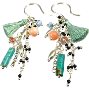 Earrings ~ FAN DANCE ~ Lots of Baby Gems & A Tassel