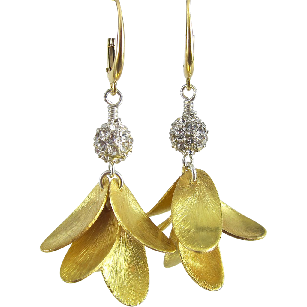 Drop Earrings ~ GOLDEN CANARIES ~ Swarovski Crystal, Vermeil, Gold Fill