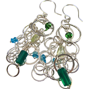 Earrings ~ GREEN GODDESS ~ Green Onyx, Prasiolite, Apetite, Sterling Silver