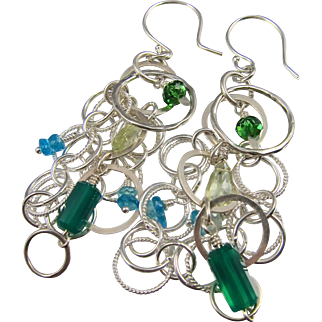 Earrings ~ GREEN GODDESS ~ Green Chalcedony, Prasiolite, Apetite, Sterling Silver