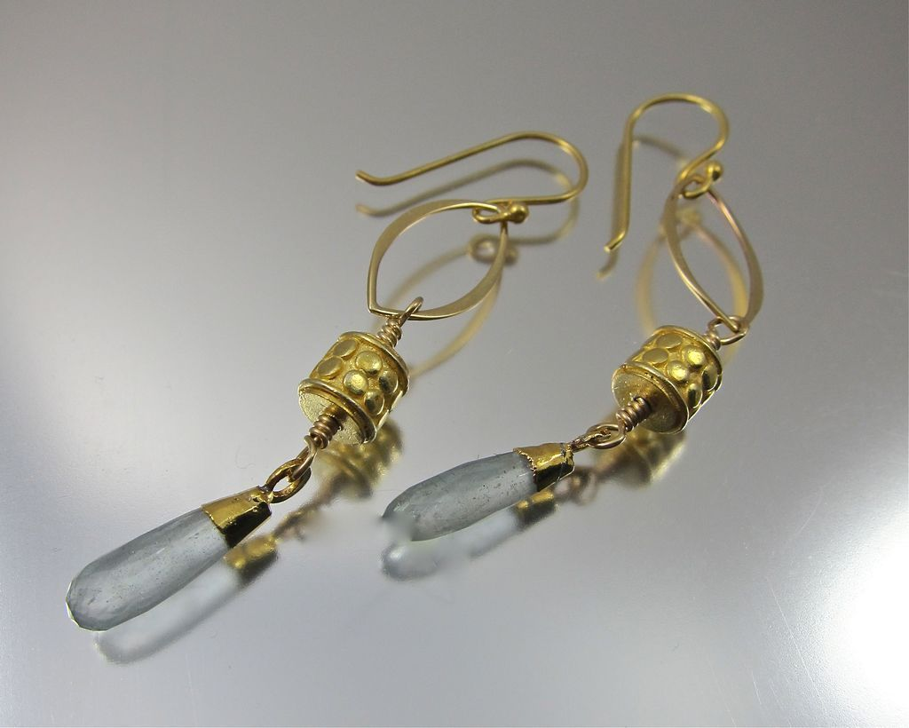 Earrings ~ GILDED LANTERNS ~ Aquamarine, 22KT Gold Leaf,Vermeil, Bronze