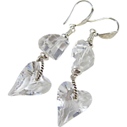 Drop Earrings ~ THE GLASS HEART ~ Crystal Quartz, Swarovski Crystal, Sterling Silver