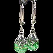 Drop Earrings ~ EVERGREEN ~ Green Quartz, Peridot, Sterling Silver
