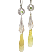 Drop Earrings ~ GREENSLEEVES ~ Serpentine Briolettes, Peridot,Sterling Silver