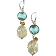 Drop Earrings ~ HARD LEMONADE ~ Teal Quartz, Lemon Quartz, Sterling, Vermeil