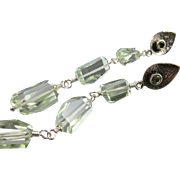 Drop Earrings ~ IRISH MIST ~ prasiolite, sterling silver, peridot