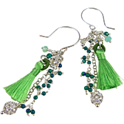 Drop Earrings ~ IRISH WALTZ ~ Howlite, Peruvian Opal, Swarovski Crystals, Tassel