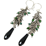 Drop Earrings ~ JUNIPER ~ Swarovski Crystal, Cultured Freshwater Pearls, Sterling Silver, Silver Plate