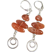 Drop Earrings ~ KHALEESI ~ Sunstone, Sterling Silver