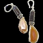 Drop Earrings ~ LAGUNA BLOSSOMS ~ Laguna Agate Slices, Artisan Lampwork, Sterling