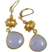 Drop Earrings ~ THE LILACS ARE IN BLOOM AGAIN ~ Lilac Chalcedony, Vermeil, Gold-Fill, Hessonite Garnet