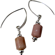 Drop Earrings ~ MARZIPAN ~ Peruvian Pink Opal, Sterling Silver