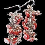 Gem Cluster Earrings ~ ONDINE'S BLUSH ~ Spiny Oyster, CF Pearls, Sunstone, Howlite, Sterling Silver
