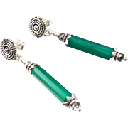 Drop Earrings ~ MISTRESS OF OZ ~ Emerald Green Chalcedony, Sterling Silver, Swarovski Crystal