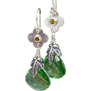 Drop Earrings ~ MISTLETOE ~ Green Crystal Quartz, Sterling, Citrine