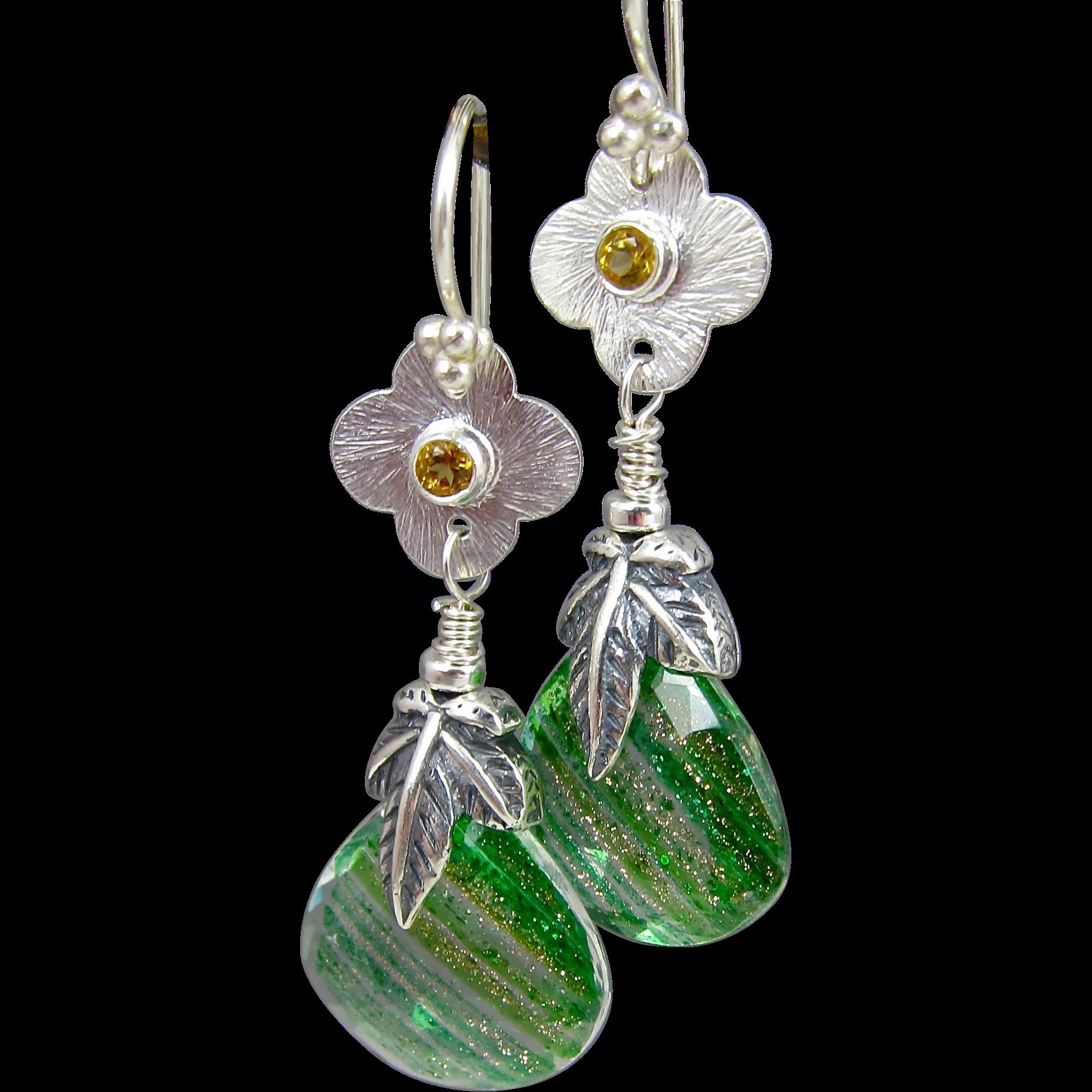 Drop Earrings ~ SPRING GREENS ~ Green Crystal Quartz, Sterling, Citrine